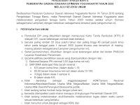 Pengadaan Tenaga Bantu Pemda DIY Tahun 2020 (Tingkat Pendidikan SLTP, SLTA, SMK, D3, D4, S1)