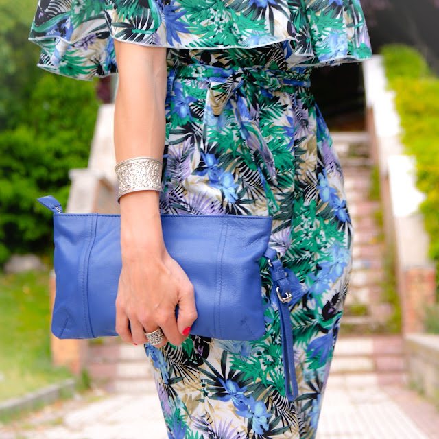 Outfit Jumpsuit Tropical off-the-soulders