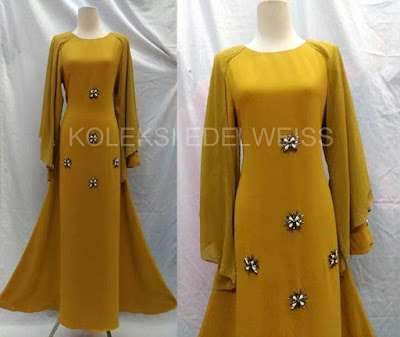 Afifah -Dress With Long Sleeve  Cape mustard