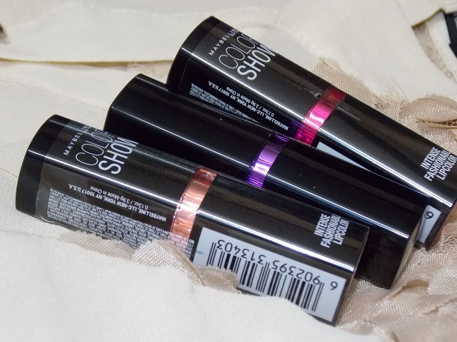 Maybelline Color show lipsticks Crushed Candy, Violet Delight and Orange icon