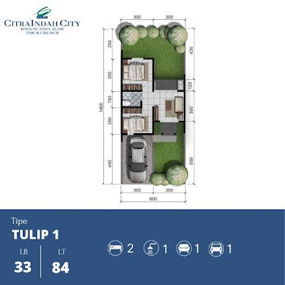 Denah Rumah Tulip 33 84 Citra Indah City
