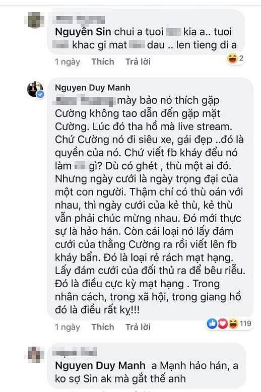 Duy Mạnh 'chửi thẳng mặt' Nguyễn Sin là 'đồ rẻ rách' trong vụ mâu thuẫn với Cường Đô La