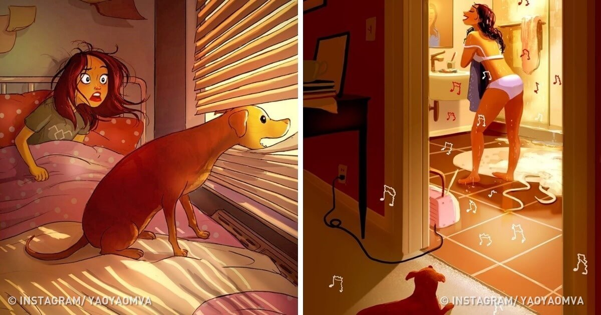 24 Cute Illustrations Prove That A Dog Owner Never Feels Lonely