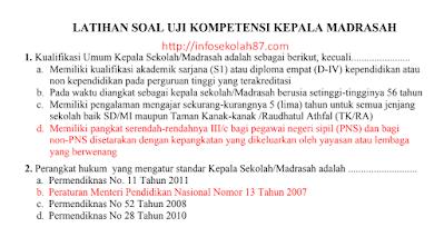 100+ Contoh Soal Dan Kunci Jawaban Asesmen Kompetensi Kepala Madrasah (AKK) Kemenag 2020