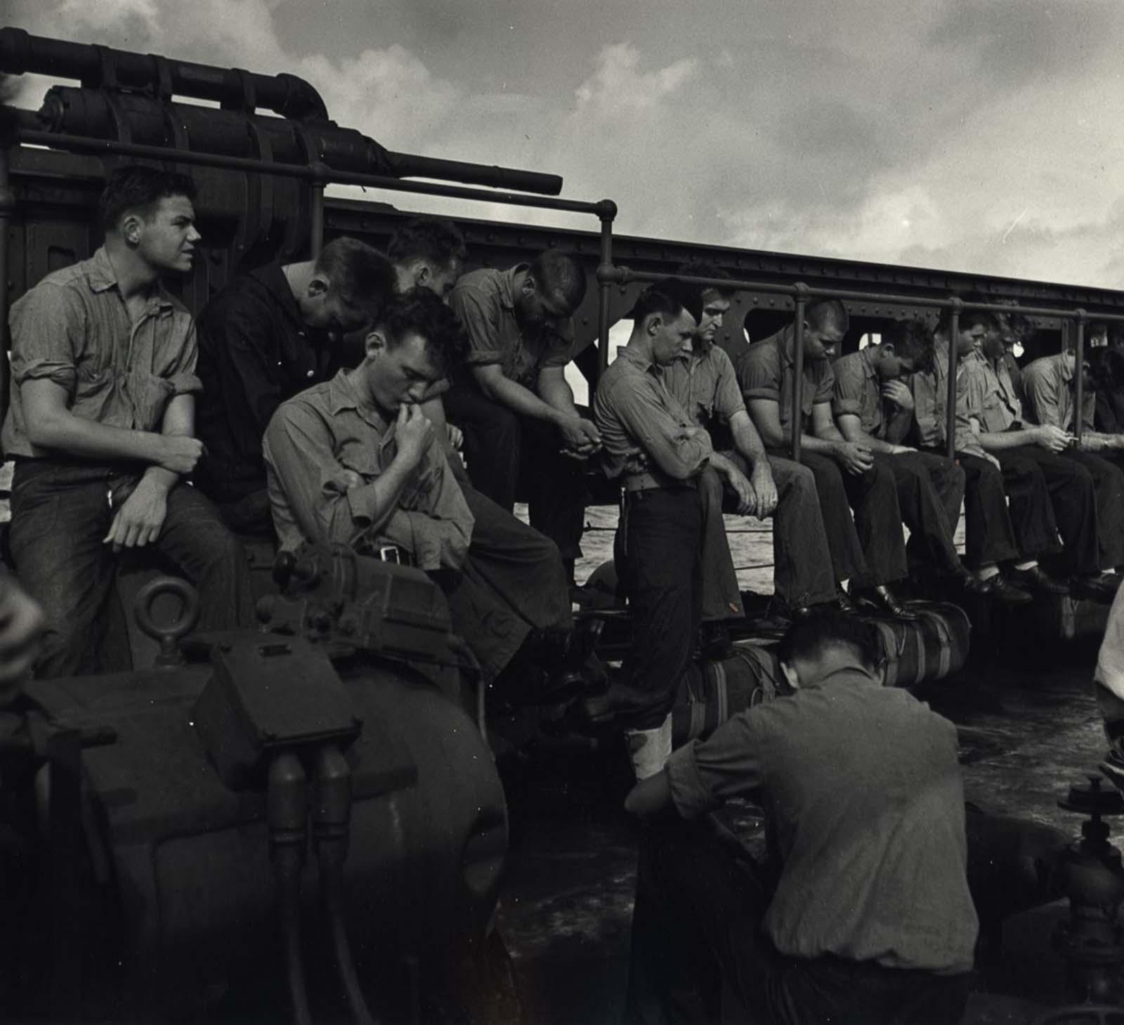 Sailors Aboard U.S.S. Yorktown, c. 1943.