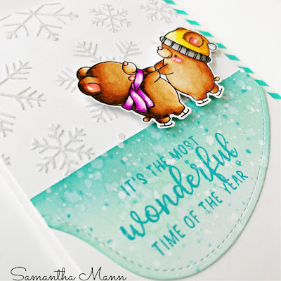 Most Wonderful Time of the Year Card by Samantha Mann, Get Cracking on Chistmas Card, Card Making, Distress Inks, Stencil, Snowflakes, Dancing, Bears, #getcrackingonchristmas #paperieink #distressinks #cardmaking #christmas #christmascard