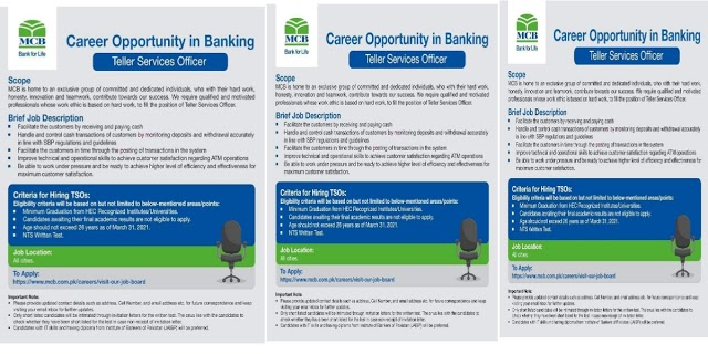 Latest Bank Jobs 2021    MCB Muslim Commercial Bank Jobs 2021
