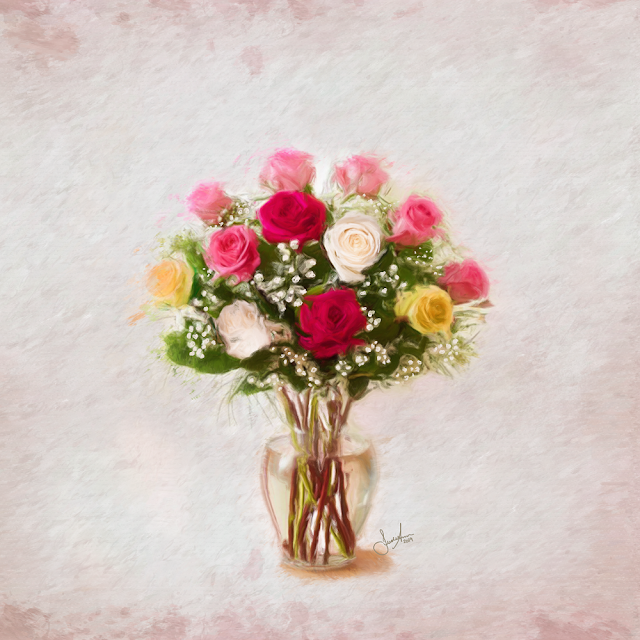 A Dozen Roses Vintage Style Painting