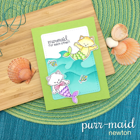 Purr-maid Kitty Mermaid Card by Jennifer Jackson | Purr-maid Newton Stamp Set by Newton's Nook Designs #newtonsnook #handmade