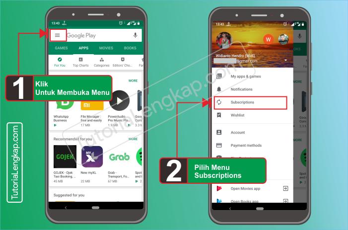 Tutorialengkap.com  1 cara berhenti berlangganan layanan aplikasi berbayar dari google pay store