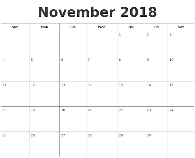 November 2018 Printable Calendar, November 2018 Blank Calendar, November 2018 Calendar Printable, November 2018 Calendar Template, November 2018 Calendar PDF, November 2018 Calendar Word, November 2018 Calendar Excel