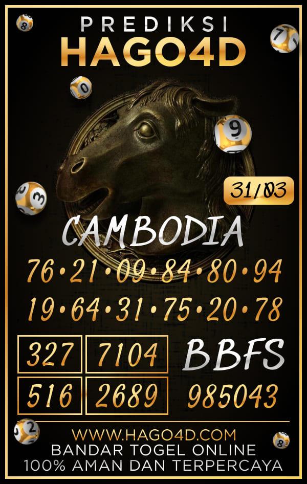 Prediksi Hago4D - Rabu, 31 Maret 2021 - Prediksi Togel Cambodia