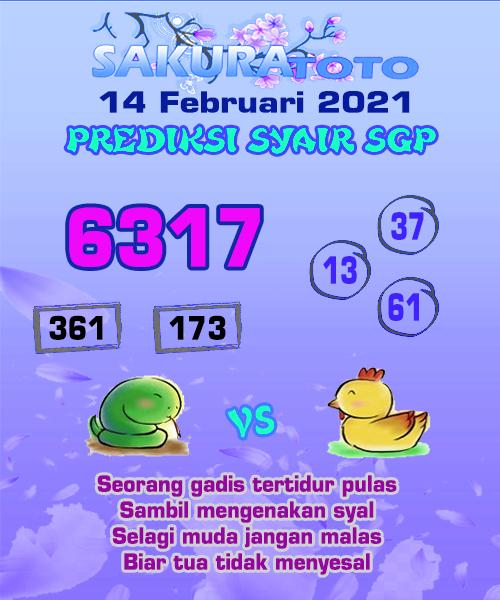 Syair Sakuratoto SGP Minggu, 14 Februari 2021