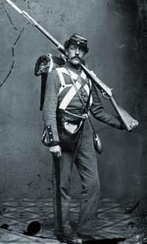 Voluntario del ejército de la unión, fotografía de Mathew Brady, 1861.