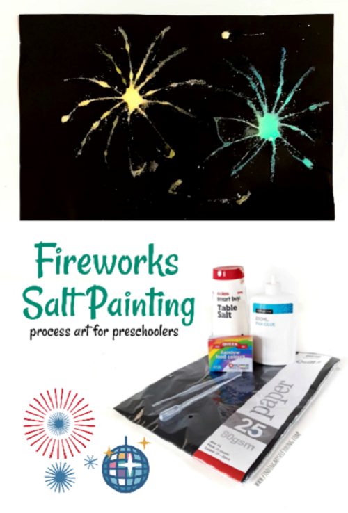 fireworks salt painting for preschoolers