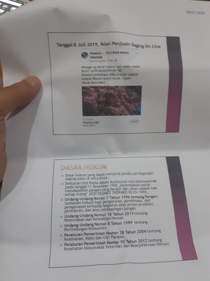 Waspada, Daging Sapi Oplosan Babi Beredar di Metro Dengan Pembelian Online