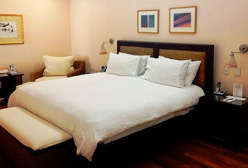 swanky hotel bedroom