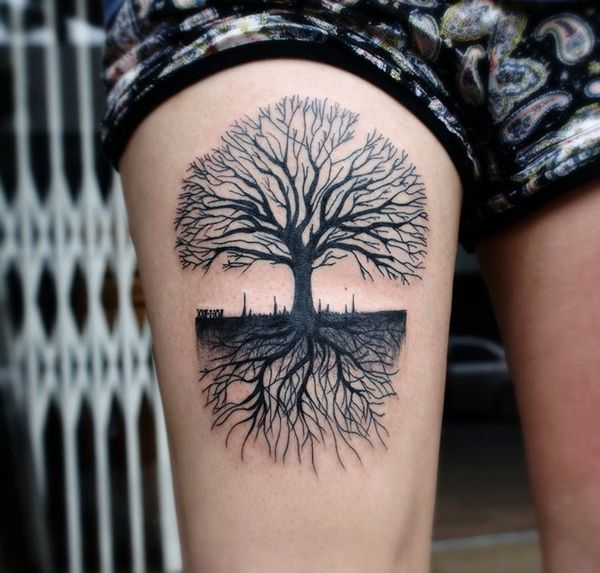 Thigh tree tattoos design