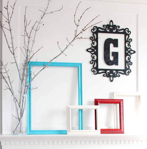 Thrifty empty frames and branches on mantel