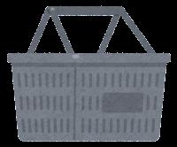 買い物かごのイラスト(グレー)