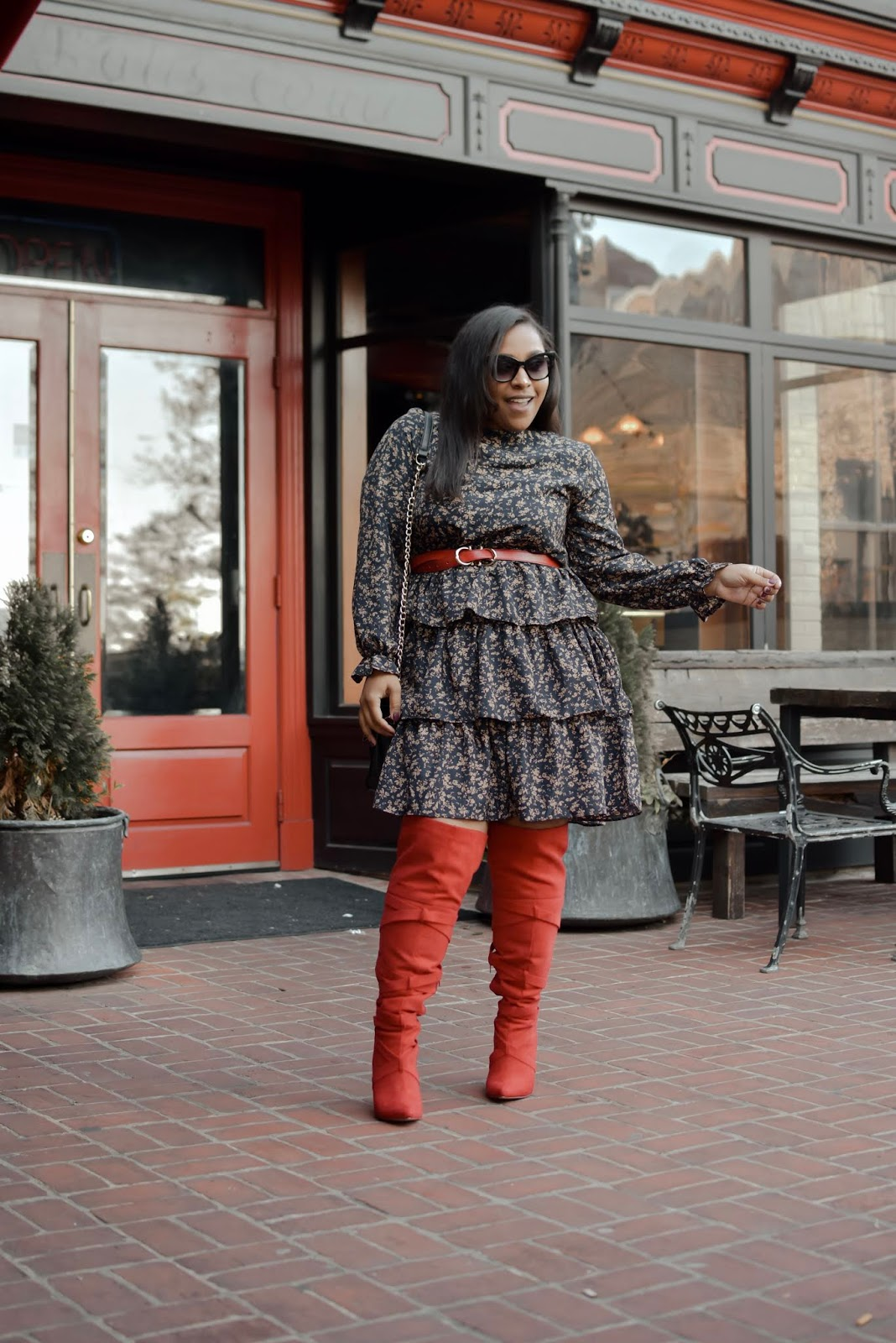 shein dress, shein reviews, fall outfits, over the knee boots, over the knee boots outfits