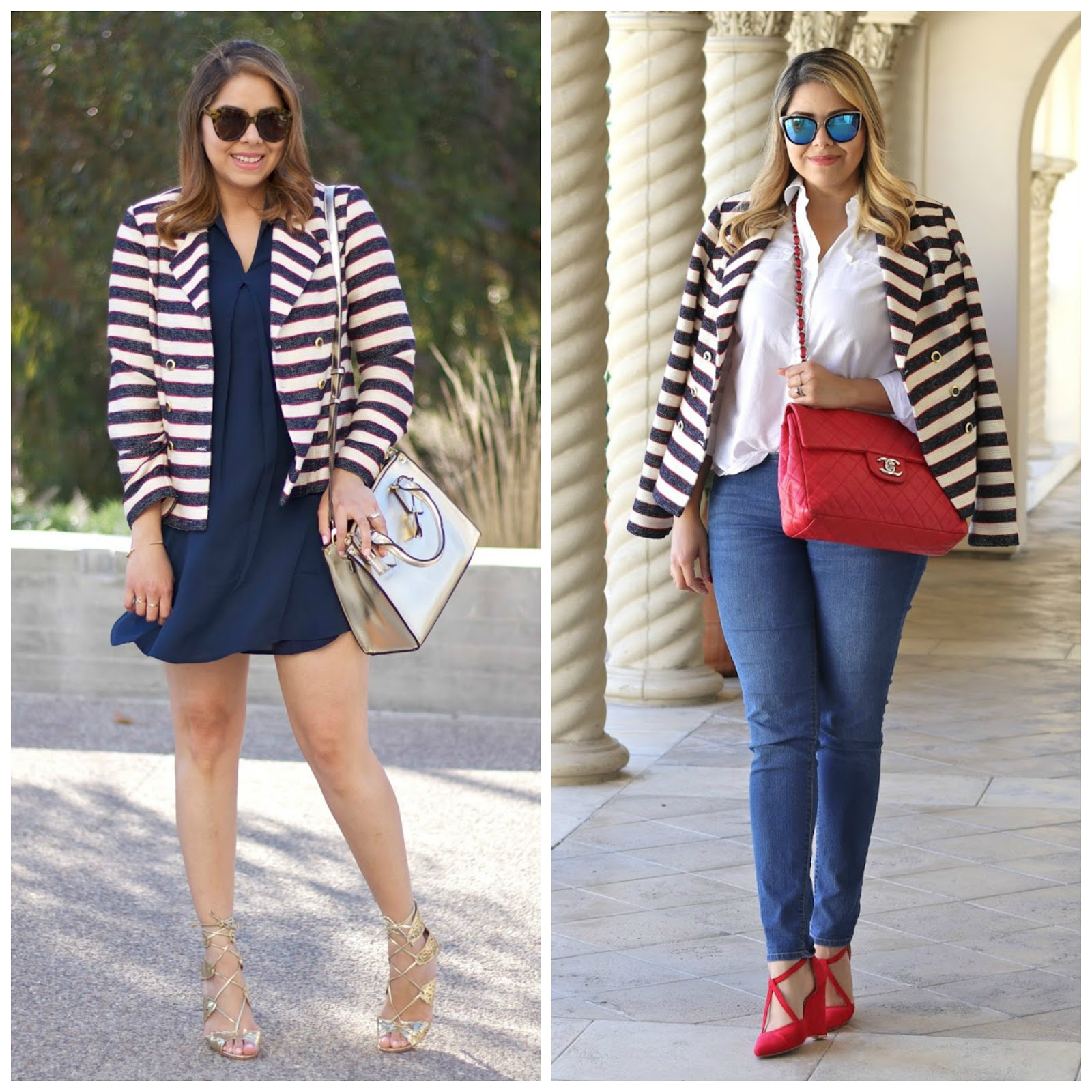 one blazer two ways, how to style a blazer differently, red white and blue outfit, patriotic chic, mexican fashion blogger