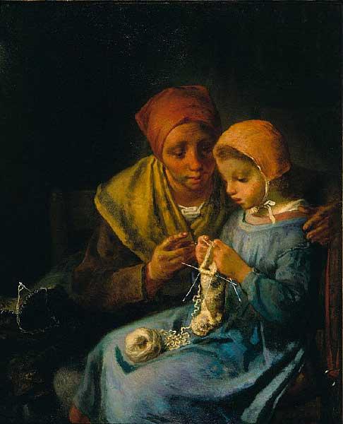 Жан Франсуа Милле - Урок вязания. 1869