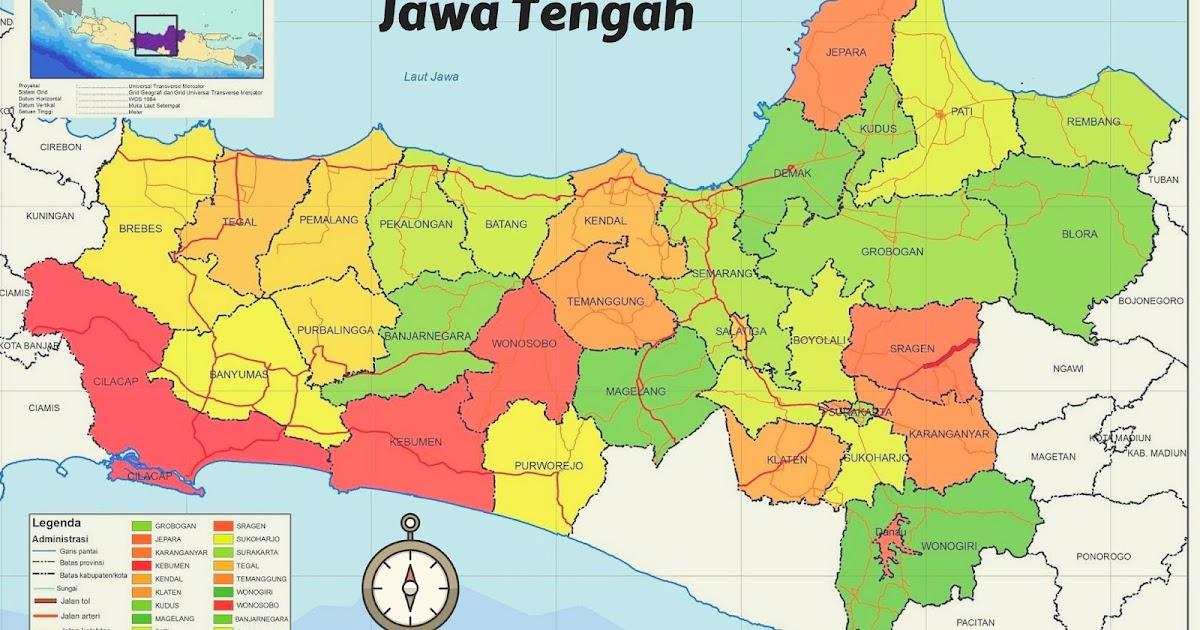 10 Kota Kabupaten Pada Peta Jawa Tengah Gurune Net