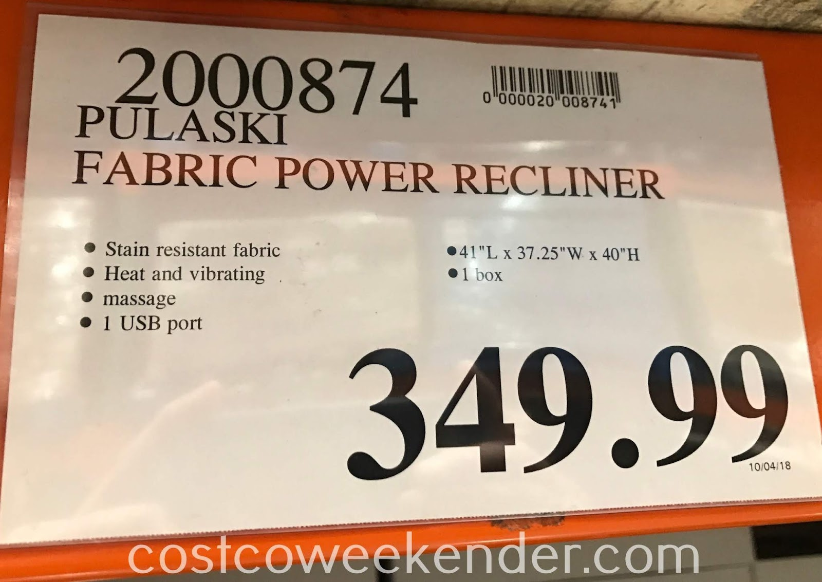 Deal for the Pulaski Fabric Power Recliner at Costco