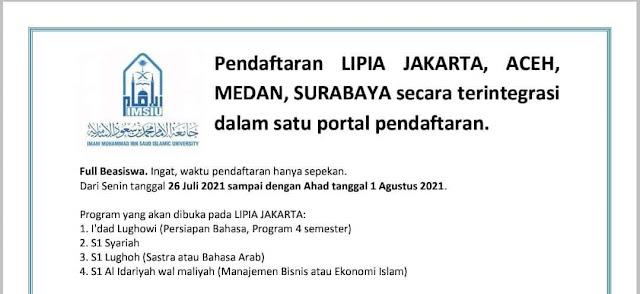 Beasiswa LIPIA Se-Indonesia (Cabang Universitas Imam, Arab Saudi)