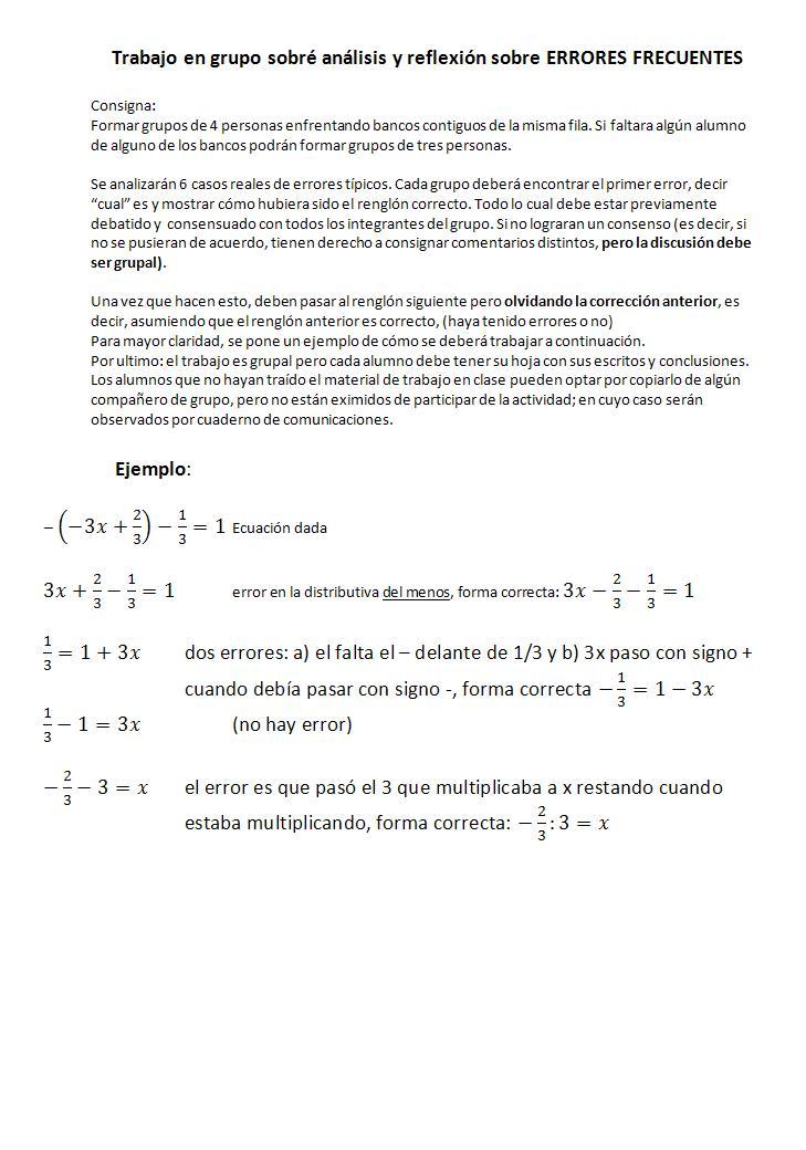 Contacto Matematica: Trabajo sobre errores comunes para alumnos de ...