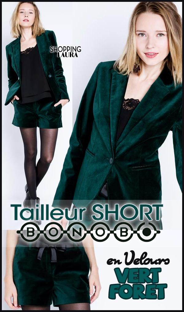 Tailleur short femme en velours vert foret BONOBO