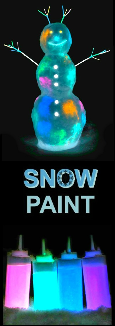 "GLOW-IN-THE-DARK SNOW PAINT FOR KIDS- the ""coolest"" outdoor winter playtime for kids EVER! (only 2 ingredients) #snowpaint #snowpaintingforkids #wintercraftsforkids #winteractivitiesforkids #snowpaintrecipe #glowinthedark #glowinthedarksnowpaint #glowinthedarkcrafts #glowinthedarkactivities #activitiesforkids #artsandcraftsforkids"