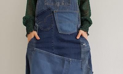 Heidididit - ompeluohje. Farkkujen uusiokäyttö. Lappuhame.