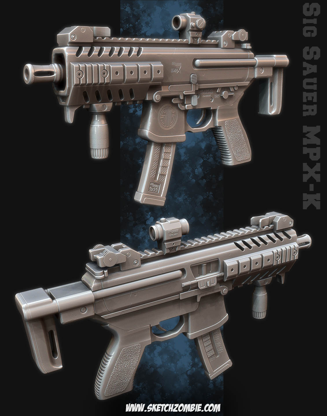Pierre Rogers: Sig Sauer MPX-K (zbrush model)