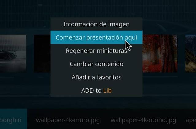presentación imágenes en kodi