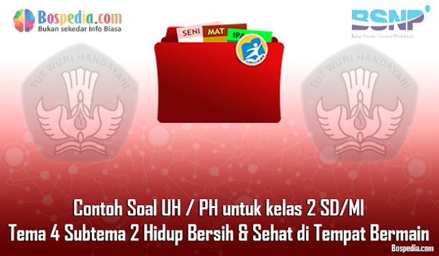 Contoh Soal UH / PH untuk kelas 2 SD/MI Tema 4 Subtema 3 Hidup Bersih dan Sehat di tempat Bermain