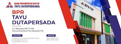 Lowongan kerja di BPR TAYU DUTAPERSADA adalah perusahaan yang bergerak pada sektor keuangan di Kota Pati, Kabupaten Pati. (Pati Kota) Kami mengajak anda yang berkemauan kerja tinggi, berkompeten, jujur, disiplin, dan bertangung jawab untuk bergabung bersama kami untuk mengisi posisi :