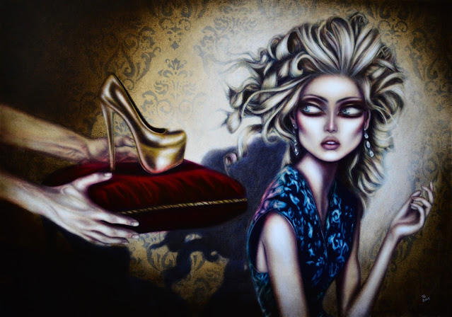 painting of cinderella with a golden shoe on a red pillow beside her by tiago azevedo a lowbrow pop surrealism artist