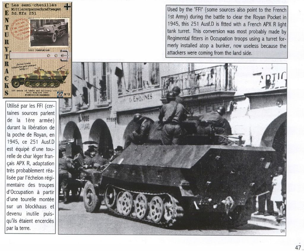 SdKfz 251 with french turret - Font: Book Century Tracks n°2