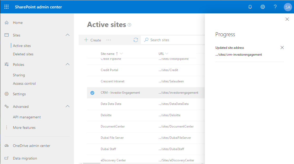how to change sharepoint online site collection url