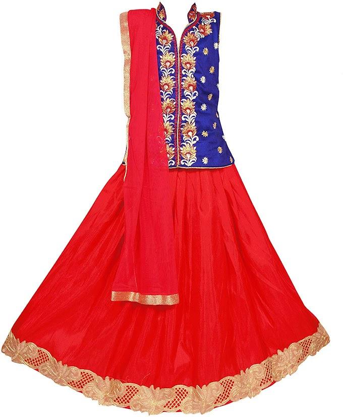 Arrow Fashion Baby Girls Silk Stitched Lehenga Choli (Blue & Red)