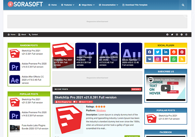 SoraSoft Responsive Blogger Template