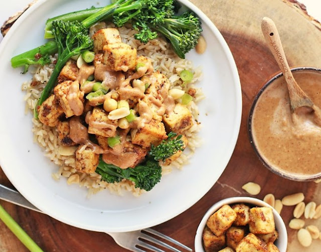 Peanut Tofu with Coconut Rice #vegan #recipes