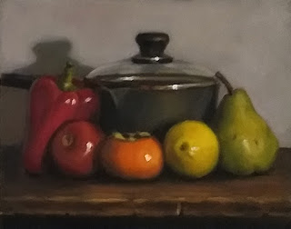 Still life oil painting of a red pepper, a tomato, a persimmon, a lemon and a pear in front of a glass-lidded saucepan.