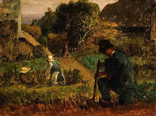 Жан Франсуа Милле - Сцена в саду