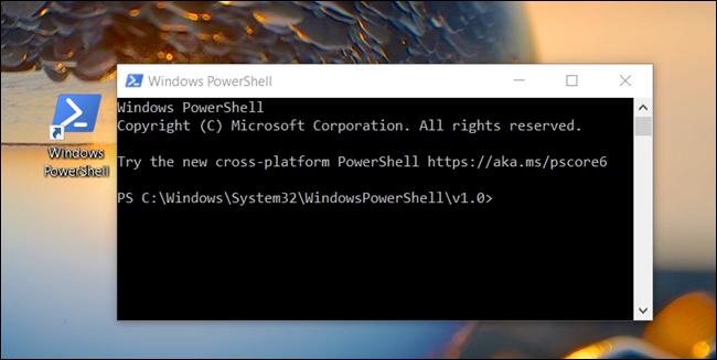 """تم فتح نافذة """"Windows PowerShell"""" من سطح مكتب."""