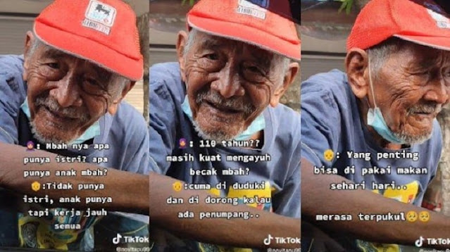 Kakek Usia 110 Tahun Masih Kerja Jadi Tukang Becak, Tak Kuat Mengayuh hanya Mendorong