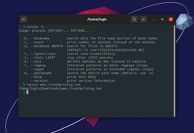 plocate find files command line