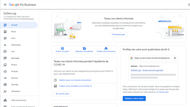 SoDevLog - Google My Business - Accueil